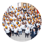 circle image of a workers team in yellow hats