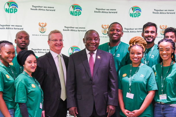 Cyril Ramaphosa with the nedbank youth team